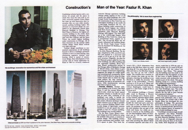 Construction's Man of the Year: Fazlur R. Khan, ENR February 10, 1972